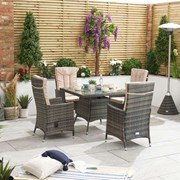 Ruxley 4 Seat Rattan Dining Set - 1m Square Table - Brown