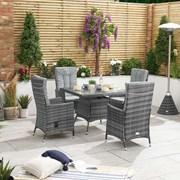 Ruxley 4 Seat Rattan Dining Set - 1m Square Table - Grey