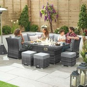Cambridge Left Hand Rattan Corner Dining Set with Firepit & Reclining Sides Grey