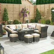 Cambridge Right Hand Rattan Corner Dining Set with Firepit Brown
