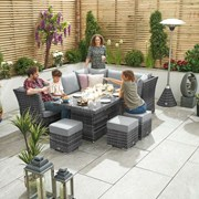 Cambridge Right Hand Rattan Corner Dining Set with Firepit Grey