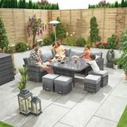 Deluxe Cambridge Rattan Corner Dining Set with Parasol Hole - Grey