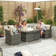 Cambridge 3 Seat Rattan Sofa Dining Set with Rising Firepit - Brown