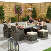 Lyon 4 Seat Rattan Cube Set with Firepit, Ice Bucket & Fold out sides - Brown