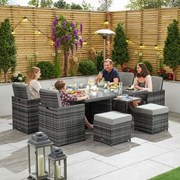 Lyon 4 Seat Rattan Cube Set with Firepit, Ice Bucket & Fold out sides - Grey