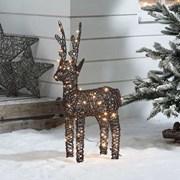 Rattan Reindeer Figure Brown With 80 Leds 80cm (N3827TWW)