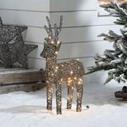 Rattan Reindeer Figure Grey With 80 Leds 80cm (N3828TWW)