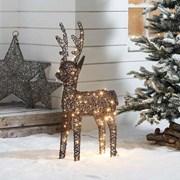 Rattan Reindeer Figure Brown With 120 Leds 100cm (N3829TWW)