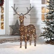 Rattan Reindeer Figure Brown With 180 Leds 150cm (N7577TWW)