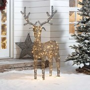 Rattan Reindeer Figure Grey With 180 Leds 150cm (N7578TWW)