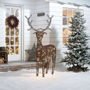 Rattan Reindeer Figure Brown With 240 Leds 180cm (N7579TWW)