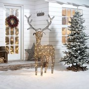 Rattan Reindeer Figure Grey With 240 Leds 180cm (N7580TWW)