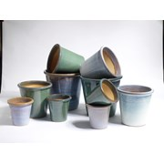 Y.f.pots Medium Glazed Flowerpot Mist (62046)