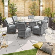 Olivia 6 Seat Dining Set with Fire Pit - 1.8m x 1.2m Oval Table - Grey