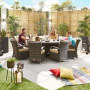 Olivia 8 Seat Dining Set - 1.8m Round Table - Brown