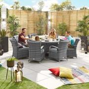 Olivia 8 Seat Dining Set - 1.8m Round Table - Grey