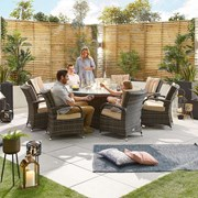 Olivia 8 Seat Dining Set with Fire Pit - 1.8m Round Table - Brown