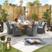 Olivia 8 Seat Dining Set with Fire Pit - 1.8m Round Table - Grey