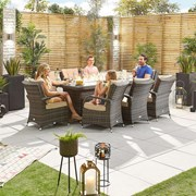 Olivia 8 Seat Dining Set with Fire Pit - 2m x 1m Rectangular Table - Brown