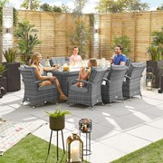 Olivia 8 Seat Dining Set with Fire Pit - 2m x 1m Rectangular Table - Grey