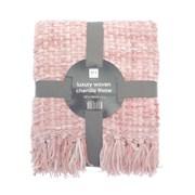 Luxury Woven Chenille Throw Blush Pink 152cm (OTS191268)