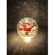 Festive Batt Op Lit Crackle Santa Ball 15cm (P024820)