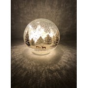 Festive Batt Op Lit Crackle Forest Scene Ball 15cm (P024822)
