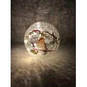 Festive Batt Op Lit Crackle Robin Ball 15cm (P024826)