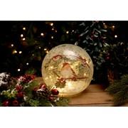 Festive Batt Op Lit Crackle Robin Ball 20cm (P024827)