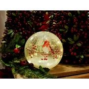 Festive B/o Lit Robin Crackle Ball 20cm (P028739)