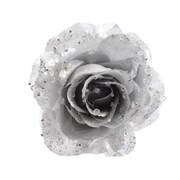 Pes Rose On Clip With Glitter Silver 14cm (629350)