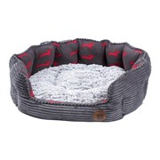 Petface Dog Deli Oval Bed Grey Bamboo Small (15171)