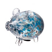 Amelia Art Glass Friendship Piggy Bank In Turquoise & White (PG3TW)