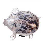 Amelia Art Glass Friendship Piggy Bank In White/grey Frosted (PG3WGF)