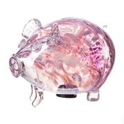 Amelia Art Glass Friendship Piggy Bank In White/pink/violet (PG3WPV)