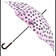 Totes Isotoner Auto Walker Wood Handle Pink Ikat Print Umbrella (9709LNS)