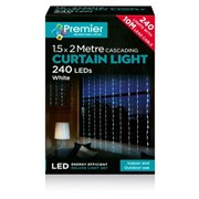 Premier 240 Led Waterfall Curtain Lights White (LV141743W)