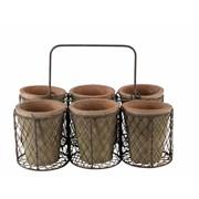6 Terracotta Pots In Crate (PT183015)