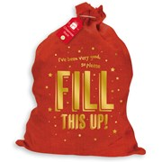 Red Hessian Sack Gold Foil Text (XALGZ219)
