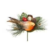 Robin With Pine Cone Pick 15cm (AC082320)