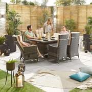 Ruxley 6 Seat Dining Set - 1.5m x 1m Rectangular Table - Brown