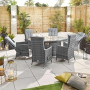 Ruxley 6 Seat Dining Set with Fire Pit - 1.8m x 1.2m Oval Table - Grey
