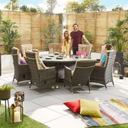 Ruxley 8 Seat Dining Set - 1.8m Round Table - Brown