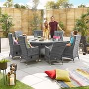 Ruxley 8 Seat Dining Set - 1.8m Round Table - Grey