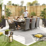 Ruxley 8 Seat Dining Set - 2m x 1m Rectangular Table - Brown