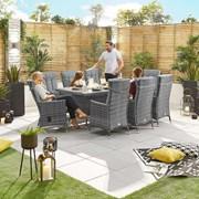 Ruxley 8 Seat Dining Set - 2m x 1m Rectangular Table - Grey