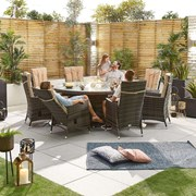 Ruxley 8 Seat Dining Set with Fire Pit - 1.8m Round Table - Brown