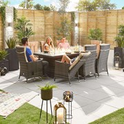 Ruxley 8 Seat Dining Set with Fire Pit - 2m x 1m Rectangular Table - Brown