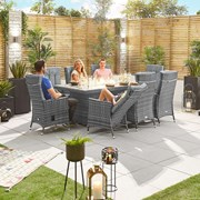 Ruxley 8 Seat Dining Set with Fire Pit - 2m x 1m Rectangular Table - Grey