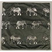 Silver/black Mini Elephants Cushion 45cm (SC-ELEPHANT-TRAIL)